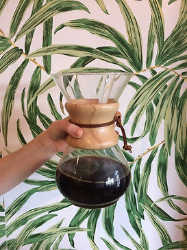 Coffee snobs will love our many brew options for black coffee like this chemex brew of a single origin Ethiopian coffee.