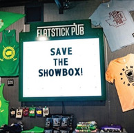 Merchandise Wall & Marquee Sign, Flatstick Pub, Seattle, WA