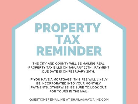Property Tax Bills Reminder