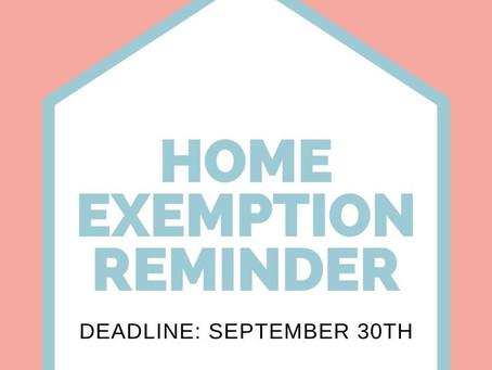 Reminder: September 30th Deadline to File Home Exemption