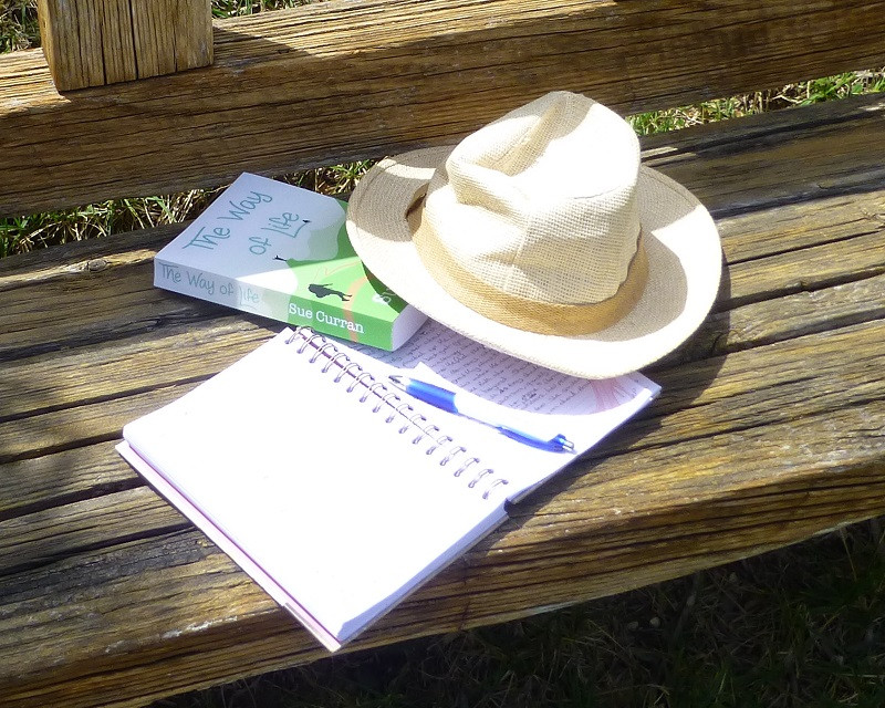 Note book and hat for my writing week in sunny Spain