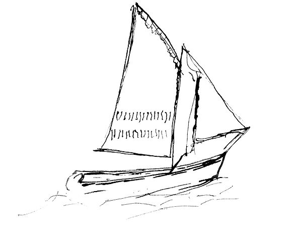 black and white line drawing of an old time sailing ship