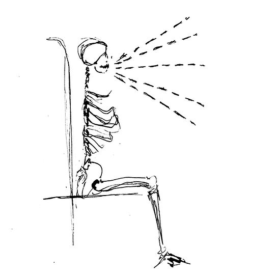 black and white line drawing of a skeleton sitting upright, demonstrating good singing posture