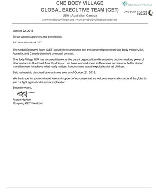 Global Executive Team  Public Announcement