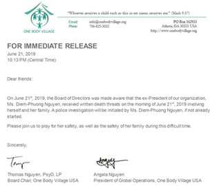 FOR IMMEDIATE RELEASE FROM OUR PARTNER ORGANIZATION, ONE BODY VILLAGE USA