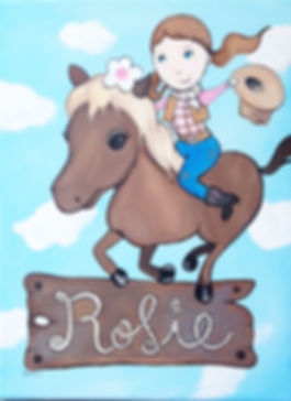 Personalized and Hand Painted Cowgirl Canvas Wall Art for Girls