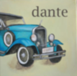 Personalized and Hand Painted Vintage Blue Car Canvas Wall Art for Boys Rooms / Nursery Rooms