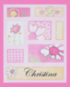 Personalized and Hand Painted Patchwork Flowers Canvas Wall Art for Girls
