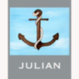 Personalized and Hand Painted Boat Anchor Canvas Wall Art for Boys Rooms / Nursery Rooms
