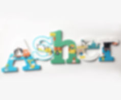Customized Construction Vehicles, Hand Painted Name Hangings for Boys Room or Nursery Room