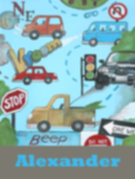 Personalized and Hand Painted Cars Canvas Wall Art for Boys Rooms / Nursery Rooms