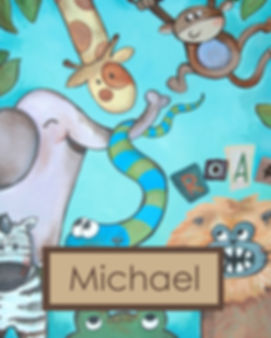 Personalized and Hand Painted Animals Canvas Wall Art for Boys Rooms / Nursery Rooms