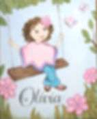 Personalized, Hand Painted Girl on a Swing Canvas Wall Art for Girls Rooms / Nursery Rooms