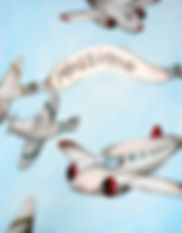 Personalized and Hand Painted Vintage Planes Canvas Wall Art for Boys Rooms / Nursery Rooms