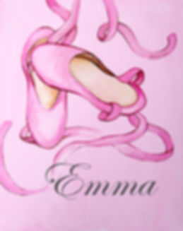 Personalized and Hand Painted Ballet Slippers Canvas Wall Art for Girls