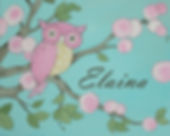 Personalized and Hand Painted Owl Canvas Wall Art for Girls