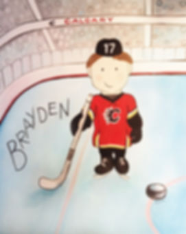 Personalized and Hand Painted Hockey Player Canvas Wall Art for Boys Rooms / Nursery Rooms