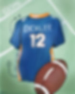 Personalized and Hand Painted Football Jersey Canvas Wall Art for Boys Rooms / Nursery Rooms
