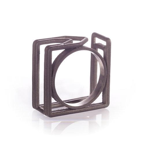 Bague paperclip square en titane et diamant