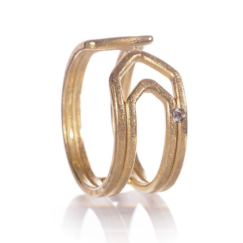 Bague paperclip GM or 18 kt