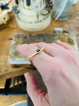 Yellow gold and square tourmaline ring