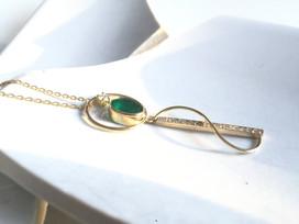 Yellow gold, emerald and diamond pendant