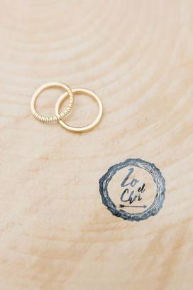 Yellow gold and diamonds wedding rings