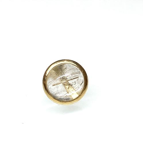 Rutile quartz button earring