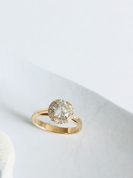 Pink gold and diamond engagement ring
