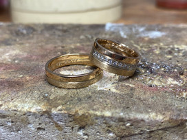 Pink, yellow and white gold wedding rings