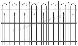 Секция забора, калитка, ворота откатные, распаштые металлические