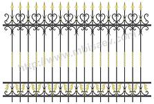 Секция забора, калитка, ворота откатные, распаштые металлические с кованными элементами