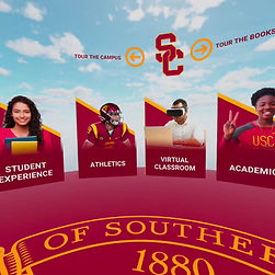 virtual reality app intro page for University of Southern California