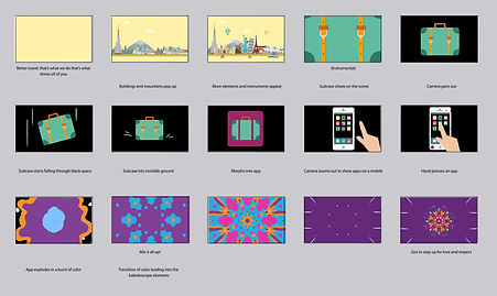 Motion graphic animation music video final story boards