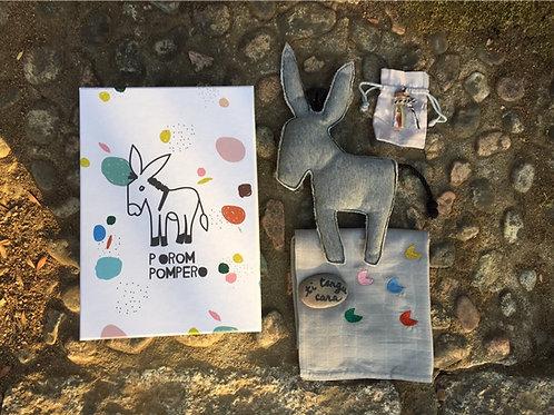 Porompompero | Coffret cadeau naissance corse | Doudou âne | lange bébé | porte-bonheur