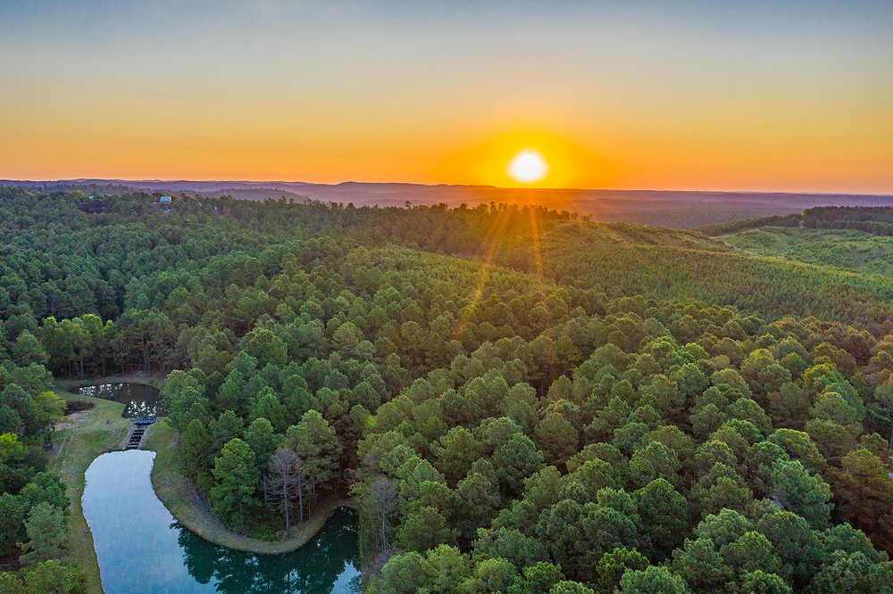 Oklahoma landscape with sunset and lake in Broken Bow