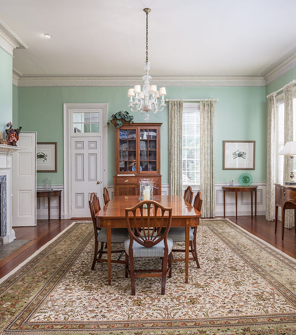 Dining Room, Paint, Rug, Lamp, Chandelier, Antiques, Fireplace, Mantle, Buffett, Dining Room Table, Dining Room Chairs, Table, Chars, Drapery, Drapery Hardware, White, Blue, Green, Coastal, Original Flooring, Trim, Plantation, Historic Renovation, South Carolina, Wainscoting, Traditional