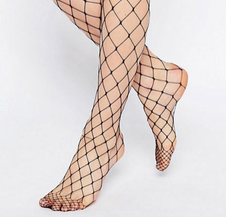 legs, below the knee, in fishnet stockings