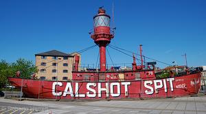 The Calshot Spit Lightship in a dry dock.
