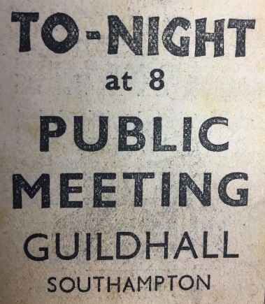 Newspaper cutting advertising a public meeting in Southampton Guildhall