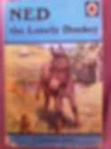 front cover of a Ladybird book called Ned the Lonely Donkey showing a picture of a donkey