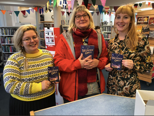 The author with the lovely librarians at Shetland Library