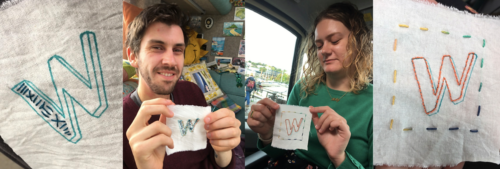 Young man and young woman, showing off their finished badges