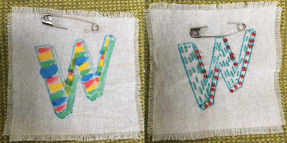 two sample fabric badges, one coloured in with fabric pens, the other embroidered with simple running stitches but also decorated with tiny glass beads