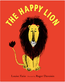 front cover of The Happy Lion picture book showing an illustration of the lion