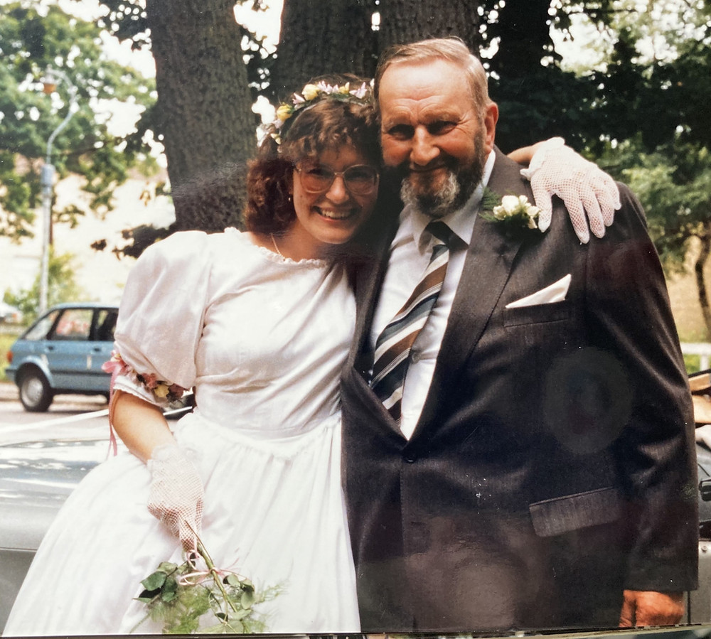 J.M. Carr on her wedding day in 1986 with her dad.
