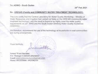Breaking News - South Sudan Ministry certifies our Grifaid Family Filter