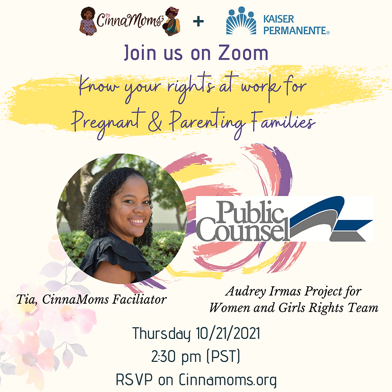 Knowing your Rights at work for Pregnant and Parenting Families!