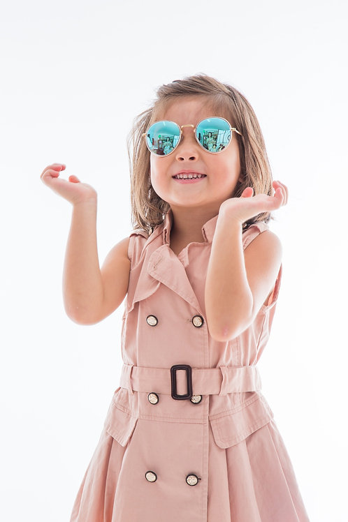Green & Black Mirror Reflective  Fashion Kids Sunglasses Polarised&UV protection