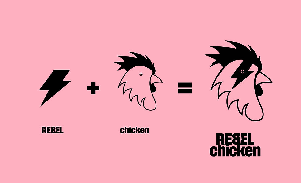 Responsible for the rebellious and cheeky brand positioning, and identity for Rebel Chicken, a uniquely marinated, smoked and tasty chicken experience aimed at the urban audience of Birmingham's Jewellery Quarter. Rebellious in it's typographic form and packed with attitude. The 'B' has been flipped, and separated by a striking lighting bolt. Brand personalities, punk, power, attitude, iconic, electric. https://www.therebelchicken.co.uk/